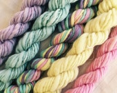 Mini Skeins  handspun knittind crochet supplies wool yarn  Waldorf Doll hair merino baby photo pro