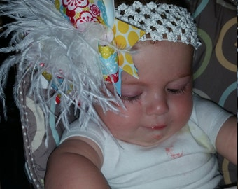 Over The Top Boutique Hairbow..Flower Baby Spikey Layered Boutique Bow and Headband..Great for Newborn Toddler big Girl