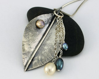Handcrafted Sterling Silver Stylized Leaf Pendant Freshwater Pearls Rainbow Moonstone 14 KT Bezel Artisan Jewelry Design 8076534391815