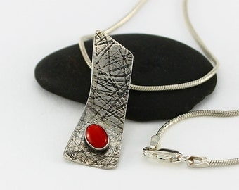 Handcrafted Sterling Silver Red Coral and Textured Sterling Pendant Contemporary Artisan Design Jewelry Natural Stone 9992454911715