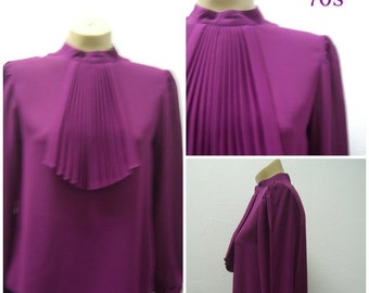 Sale Valentines 1970s Long Sleeve Sheer Blouse with pleated Ascot, Fushia, Size Small,  #48106