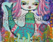 Mermaid Art Print, Mermaid Painting, mixed media and collage, wall art, little mermaid, be a mermaid, canvas, magical story by Judie Parsons
