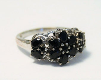 Vintage black spinel and sterling silver ring.  UK size P.  US size 7.5