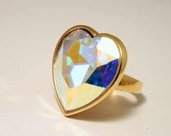 Vintage crystal heart ring. Large heart ring.  UK size P.  US size 7 3/4
