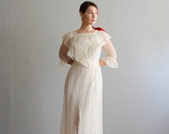 Edwardian Tea Dress - Vintage 1910's Wedding Dress - Guinevere Wedding Dress