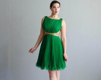 Vintage 1960s Party Dress - 60s Chiffon Dress - Eunomia Dress