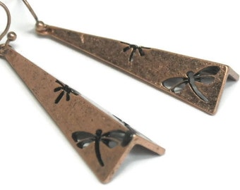 Dragonfly Earrings - Copper Dragonfly Cut Out Dangle Earrings - Tribal - Native - Nature - Summer - Boho Chic - Bug Jewelry - Bug Earrings
