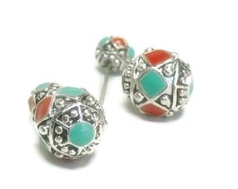 Front Back Earrings - Ear Jacket Earrings - Double Earrings - Post - Double Sided - Ear Jacket - Stud - Aztec Ball Earrings - Turquoise, Red