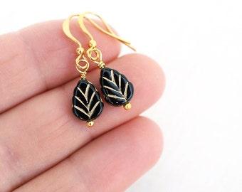 Summer Outdoors Tiny Leaf Black Earrings Black Bead Earrings Black Glass Earrings Black Dangle Earrings Gold Earrings Black Drop Earrings