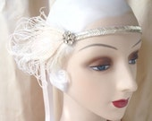 silver, gold or black 1920's style flapper headband with beaded band, vintage rhinestone button and black or ivory peacock feathers