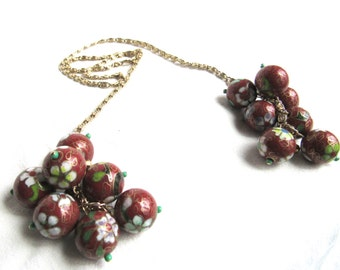 Recycled Necklace Up Cycled Necklace Vintage Beads Cloisonné Beads Snail Chain Lariat Necklace Eco Design