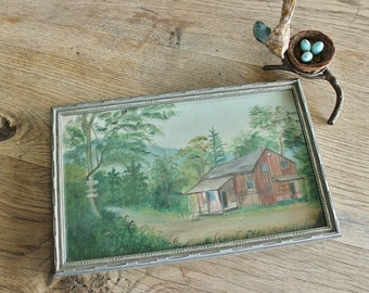 Sweet Antique Painting of a Cabin in the Woods Oil on Board