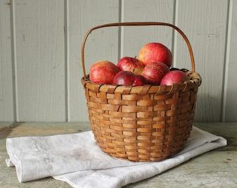 Antique 19th C Splint Gathering Basket