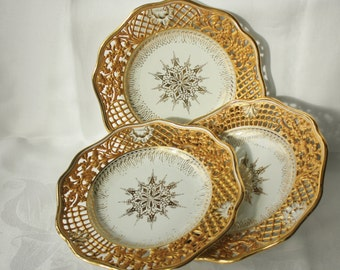 3 Beautiful Vintage Reticulated Porcelain Gilt Desert Plates