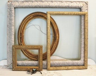 3 Antique Victorian Gilt Wood and Gesso Frames