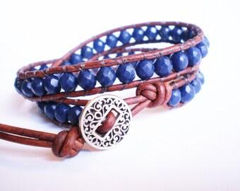 Lapis Bracelet Gemstone Jewelry Blue Wrap Bracelet
