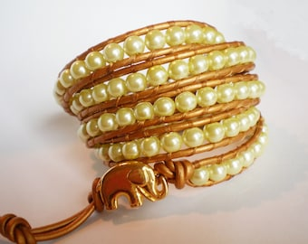 Pearl Bracelet Costume Jewelry Elephant Cuff Statement Bracelet Gold and Lime
