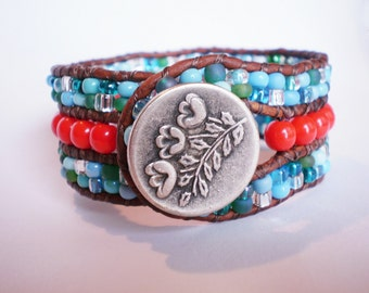 Orange Red Cuff Turquoise Glass Braclet Red Orange Cuff