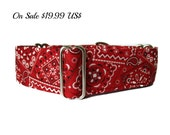 1.5 Inch Martingale Collars, Red Martingale Collar, Bandana Martingale Collar, Red Dog Collar, Martingale Dog Collar, Ships to UK