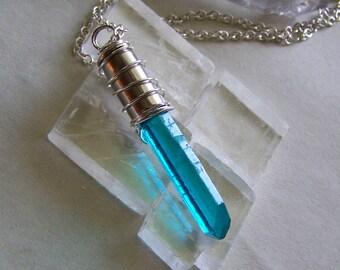 Aqua Blue Mystic Quartz Silver Bullet Jewelry Pendant