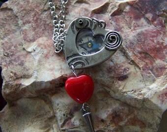 Steampunk Love Heart Compass Pendant