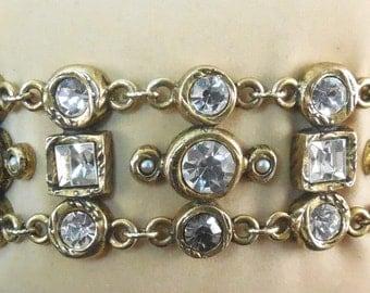 Vintage Designer Signed Patricia Locke Bracelet - Crystals Pearls Toggle Clasp