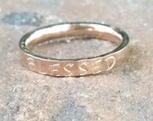 Blessed, Christian Ring, Rose Silver Gold Stainless Stacking Ring, Scripture Ring, Bible Verse, Religious Jewelry, Confirmation