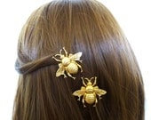 Bumblebee Hair Clips Girls Barrettes Gold Bumble Bee Insect Garden Bridesmaid Rustic Woodland Wedding Accessories Womens Gift For Her Spring