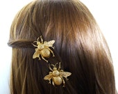 Bridal Hair Clips Bridesmaid Barrette Bride Gold Bumblebee Bumble Bee Nature Rustic Woodland Wedding Accessories Womens Gift For Her Spring