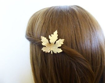 Gold Maple Leaf Barrette Bridal Hair Clip Bride Bridsmaid Nature Inspired Botanical Autumn Fall Rustic Woodland Wedding Accessories Gift
