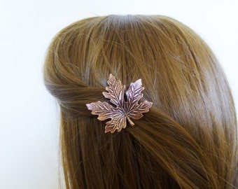 Copper Maple Leaf Barrette Bridal Hair Clip Bride Bridesmaid Nature Autumn Fall Rustic Woodland Wedding Accessories Womens Gift For Her