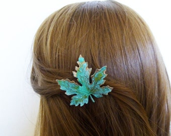 Wedding Hair Clip Bridal Barrette Bride Bridesmaid Green Maple Leaf Botanical Autumn Fall Rustic Woodland Accessories Womens Gift For Her