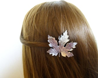 Silver Maple Leaf Hair Clip Bride Bridal Barrette Bridesmaid Woodland Nature Forest Garden Elf Fairy Wedding Accessories Womens Gift For Her