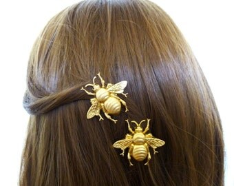 Wedding Hair Clips Bridal Barrettes Bridesmaid Bumblebee Bumble Bee Garden Forest Nature Inspired Rustic Woodland Accessories Womens Gift