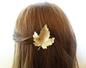 Gold Leaf Headpiece Head Piece Hairpiece Bridal Hair Clip Rustic Bride Bridesmaid Forest Woodland Wedding Accessories Womens Gift For Her