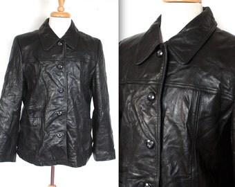 Vintage 1980's Leather Jacket // 80's Black Soft Leather Jacket // New Wave // Motorcycle Biker Jacket