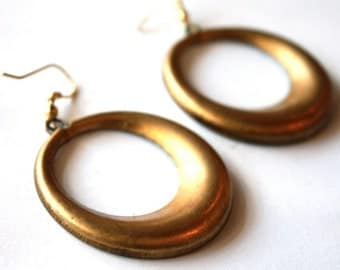 Vintage Hoop Earrings // 1960s 1970s Round Twirly Earrings // 60s 70s Jewellry // NOS // Gold Circular // Handmade Earrings