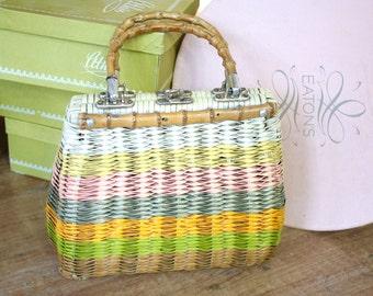 Vintage 1950s Purse // 50s Pastel Wicker Handbag with Bamboo Handles // Tiki Picnic Purse