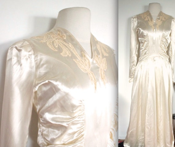 Vintage 1940s Wedding Dress // 40s Ivory Satin Wedding Gown with Lace Leaf Cutouts