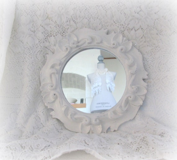 Ornate framed mirror round white wall mirror ornate white for White round wall mirror