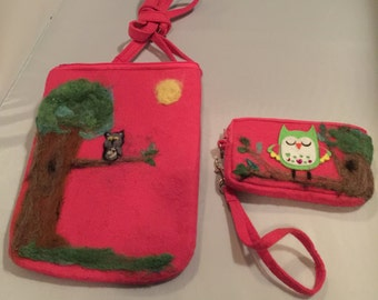 The Gray Owls Purse and coin Bag set