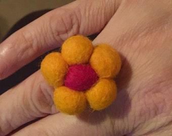 Flower Needle felted Ring