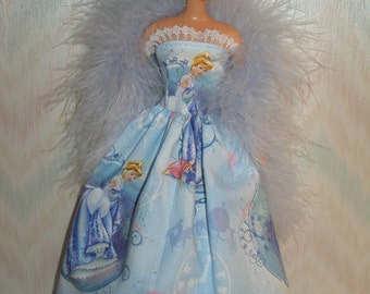 "Handmade 11.5"" fashion doll clothes - Blue princesses gown with boa"