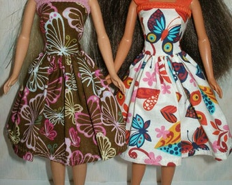 """Handmade 11.5"""" fashion doll clothes - Your choice - choose 1 Butterfly print dress brown/pink or cream/orange"""