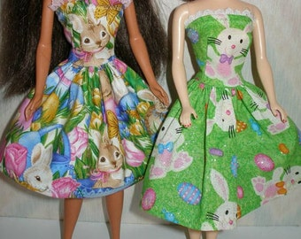 "Handmade 11.5"" fashion doll clothes -- Your choice - Choose 1 - green and white bunny or blue w/bunnies and pink tulips"