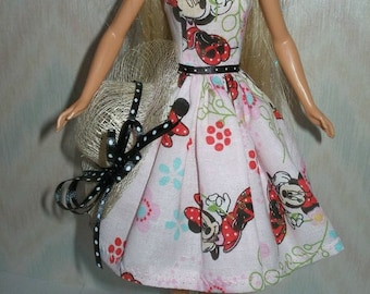 "Handmade 11.5"" Fashion Doll Clothes - pink, red and black mouse print dress with hat"