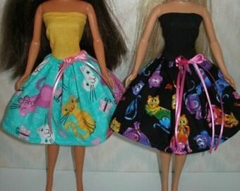 Handmade Barbie clothes - Your Choice - Choose 1 - Black or Aqua Colorful cats dress