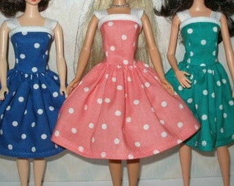 "Handmade 11.5"" fashion doll clothes - Your choice - Choose 1 - blue, salmon or teal and white polka dot dress"