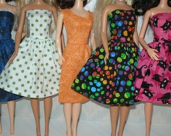 Handmade Barbie clothes - mixed lot of 5 colorful dresses