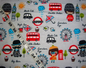 Flannel fabric with girls Big Ben London England double-decker bus cotton print quilt sewing material to sew for crafting BTY by the yard
